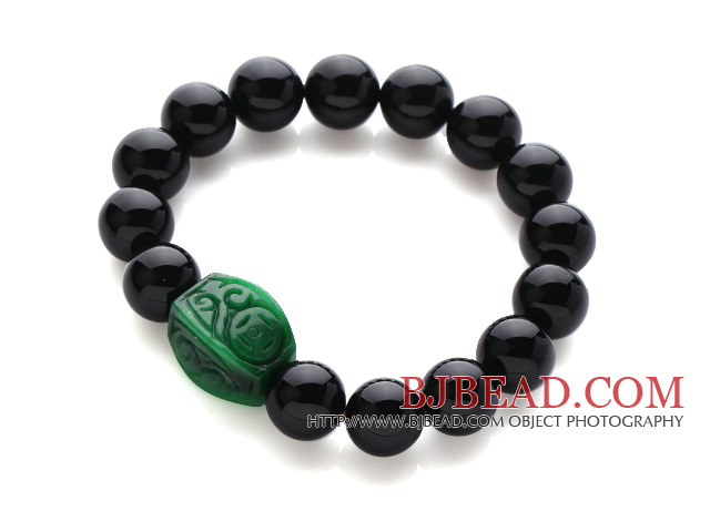 Trendy Design Cool 12mm Black Agate Stretchy Bracelet with Green Bead