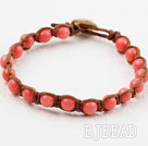 Fashion Style 6mm Round Pink Coral Weaved Bracelet with Shell Clasp