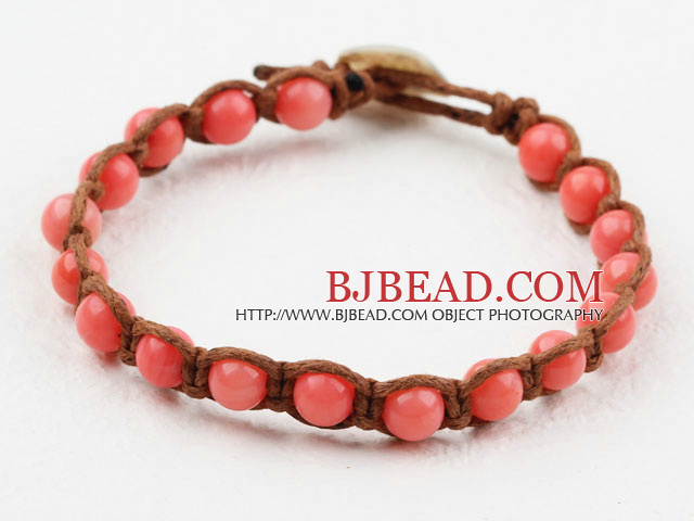 Fashion Style 6mm Round Pink Coral Woven Bracelet with Shell Clasp