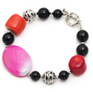 red coral and black agate bracelet with toggle clasp
