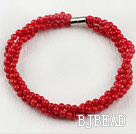 4mm round red coral ball beaded bracelet with magnetic clasp