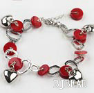 new style red coral bracelet with extendable metal chain