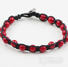 Fashion Style 6mm Round Red Coral Weaved Bracelet with Shell Clasp