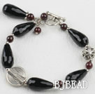 7.5 inches drop shape black agate bracelet