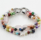 New Design Multi Color Freshwater Pearl and Rose Quartz Bracelet with Heart Shape Clasp