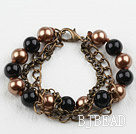 Vintage Style Black and Brown Round Seashell Beads Bracelet under $ 40