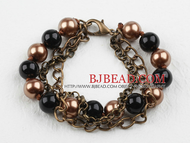 Vintage Style Black and Brown Round Seashell Beads Bracelet