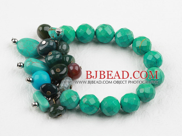 New Design Assorted Turquoise and Indian Agate Elastic Bracelet