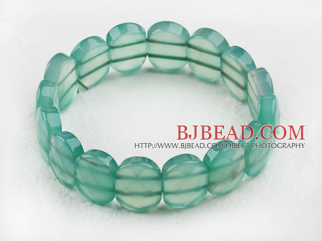 faceted 12*16 green agate stretchy bangle bracelet