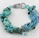 7.5 inches crystal glass beads and turquoise bracelet
