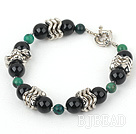 7 inches phoenix stone and black agate bracelet with moonlight clasp