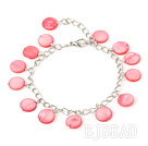 11mm pink round shell bracelet with extendable chain