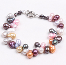 Gray Series 10mm Persian Stripe Agate and Tungsten Steel Stone and Rhinestone Beaded Stretch Bracelet