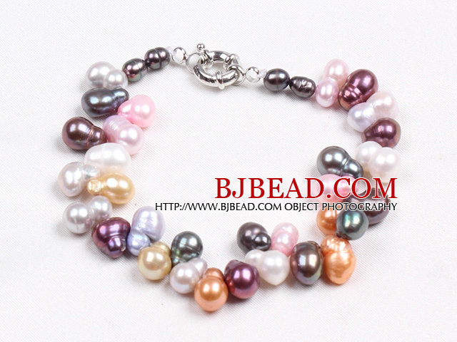 Fashion Multi Color Natural Freshwater Cucurbit Shape Pearl Bracelet With Moonlight Clasp
