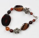 fancy agate stone bracelet with flower charms