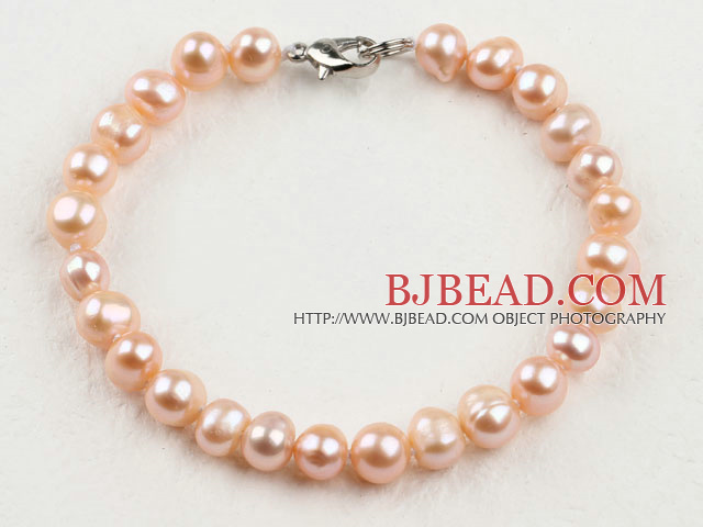 7.5 inches 6-7mm fresh water pink pearl beaded bracelet with lobster clasp