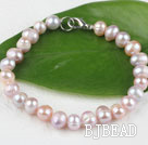 7.5 inches 7-8mm fresh water purple pearl beaded bracelet with lobster clasp