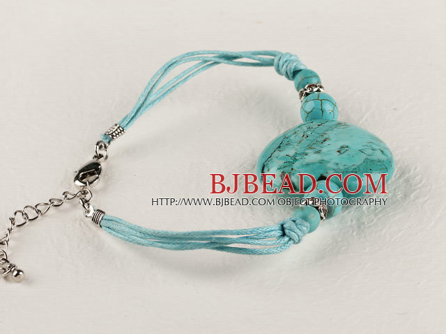 7.5 inches heart shape turquoise bracelet with extendable chain