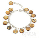 11mm brown round shell bracelet with extendable chain