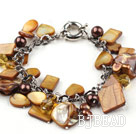 Brown Series Brown Pearl Crystal and Brown Shell Bracelet with Metal Chain