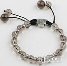 8-10mm natural smoky quartze bracelet with extendable chain
