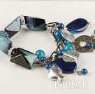 chunky style gorgeous 7.5 inches blue agate bracelet