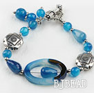 7.5 inches blue agate bracelet with toggle clasp