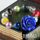 elastic 10-14mm multi color stone bracelet with flower charm under $ 40