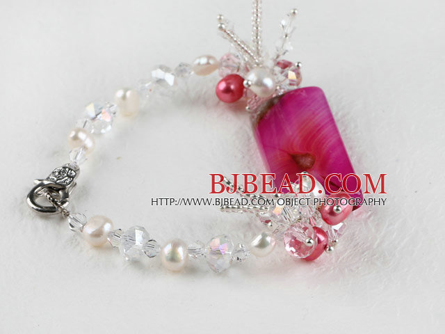 7.5 inches pearl and crystal bracelet with lobster clasp