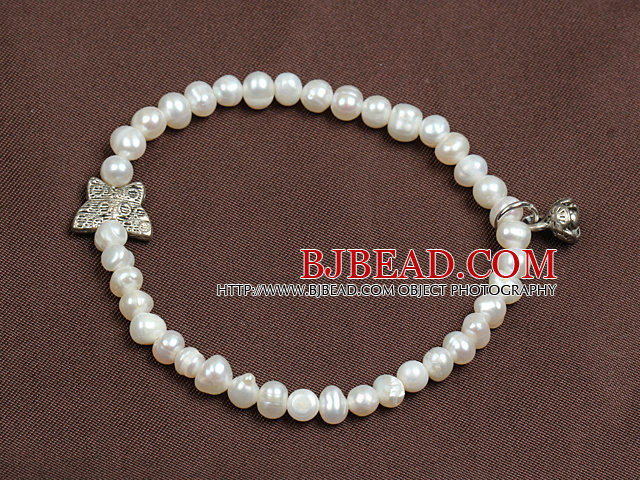 Simple Elegant Style 4-5Mm Natural White Freshwater Pearl Elastic/ Stretch Bracelet With Lotus Seedpod Charm