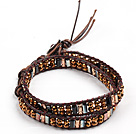 Fashion Style Brown Searies Crystal Beads Wrap Bangle Bracelet