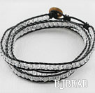 23.6 inches manmade clear crystal wrapped leather bracelet
