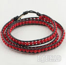 23.6 inches red coral wrapped leather bracelet