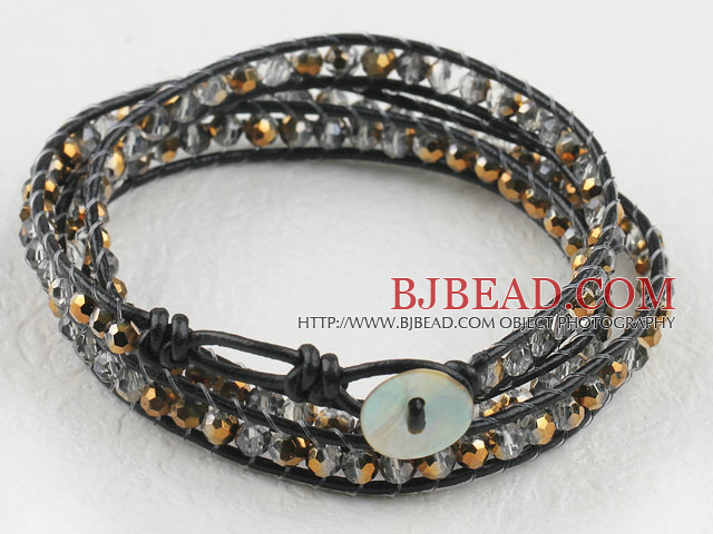 23.6  inches manmade golden color crystal wrapped leather bracelet
