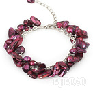 dyed purple pearl bracelet  with extendable chain under $7