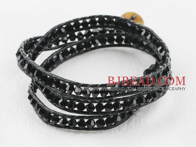 23.6 inches manmade black crystal wrapped leather bracelet
