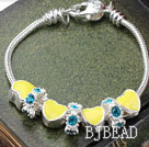 Fashion Style Yellow Color Heart Shape Accesories with Rhinestone Charm Bracelet under $ 40