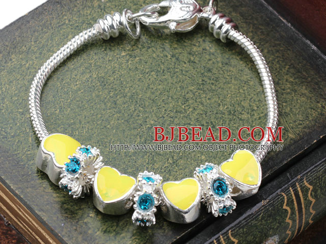 Fashion Style Yellow Color Heart Shape Accesories with Rhinestone Charm Bracelet