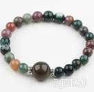 Simple Design Indian Agate Elastic Bangle Bracelet