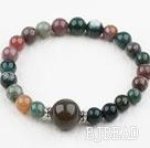 Simple Design Indian Agate Elastic Bangle Bracelet