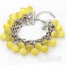 Yellow Color 10mm Round Cats Eye Bracelet with Metal Chain