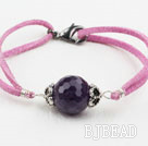 Simple Style 16mm Faceted Amethyst Bracelet with Purple Red Cord