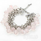 Pink Color 10mm Round Rose Quartz Bracelet with Metal Chain under $ 40