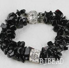 6-7mm multi strand black stone chips beaded bracelet under $ 40