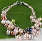 multi strand multi color assorted pearl bracelet