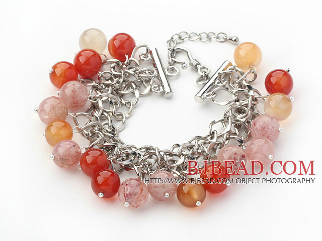 pink colored glaze elastic bracelet with ball accessories