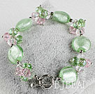 green crystal and colored glaze bracelet with toggle clasp under $4