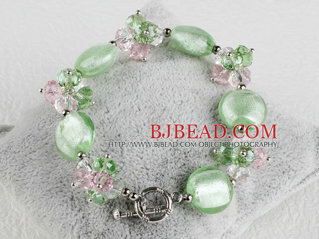 green crystal and colored glaze bracelet with toggle clasp
