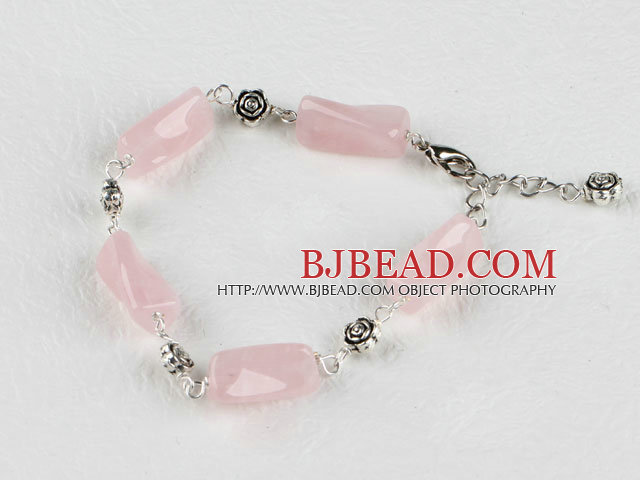 pink rotated shape rose quartz bracelet with adjustable chain