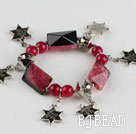 red crystallized agate and star shape accessories charm bracelet
